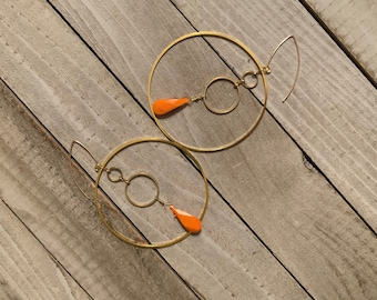 Custom Order - Amberlyn Orange coral teardrops inside a large brass and small brass circles, fastened to 14k gold filled earwires
