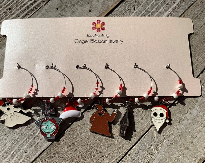 Set of 6 Wine Glass Charms - Limited Time Only - Tim Burton's Nightmare Before Christmas charms