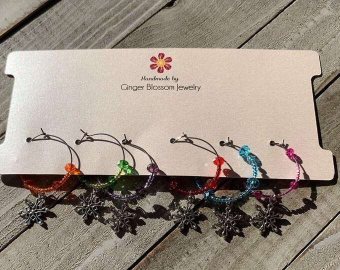 Set of 6 Wine Glass Charms  Snowflake charms Christmas / Winter