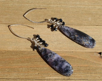 Arborization opal long briolettes with silver wire wrapped black spinel stones suspended on 925 sterling silver earwires