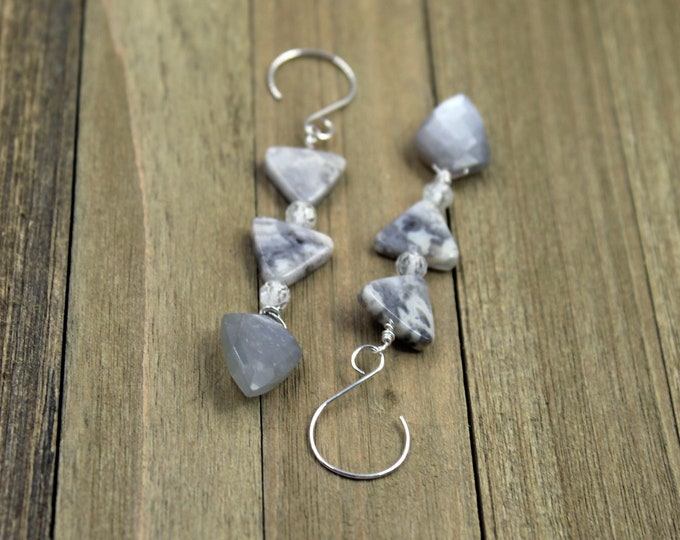 Crazy lace agate triangle shaped beads with white topaz and gray chalcedony on sterling silver earwires