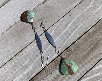 Chunky large bio chrysoprase briolettes in pear shaped silver finding with long silver finding on silver french hooks