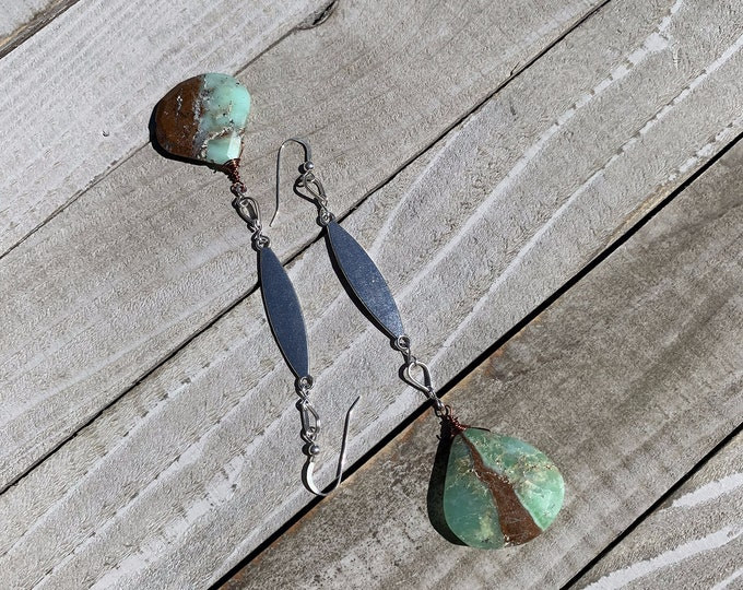 Chunky bio chrysoprase briolettes suspended from oblong silver finding, hanging on 925 sterling silver earwires