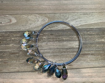 Double silver bangle bracelet with dangly suspended aurora borealis crystal beads (ten)