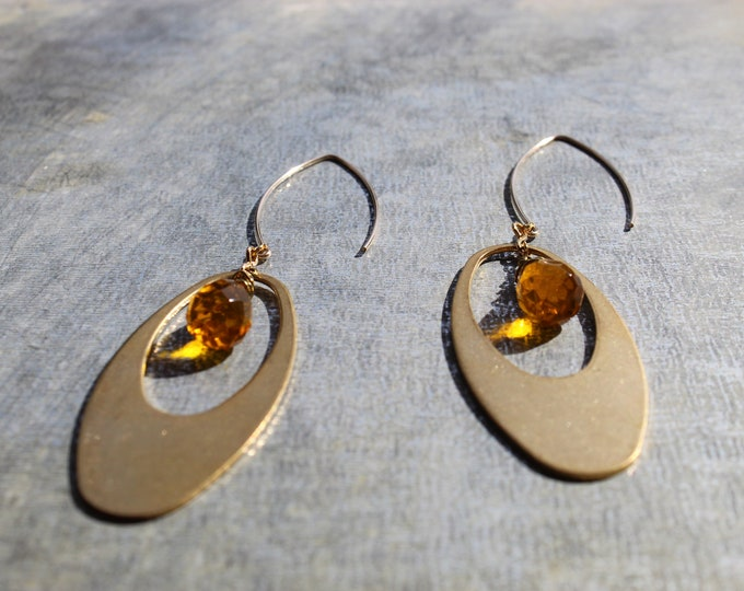 Faceted citrine briolettes with brass oval geometric shapes on 14k gold filled french hook earwires