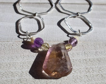 Genuine ametrine (amethyst and citrine) teardrop stone with amethyst and citrine on decorative silver chain