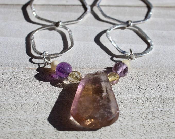 Genuine ametrine (amethyst and citrine) teardrop stone with amethyst and citrine on decorative silver chain