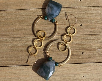 Green moss agate shield faceted with genuine emerald stones with brass geometric shapes on 14k gold filled ear wires