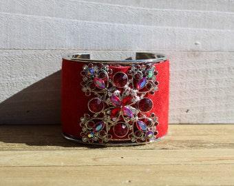 Silver and red suede leather inlay cuff with silver, red and clear rhinestone embellishment bracelet