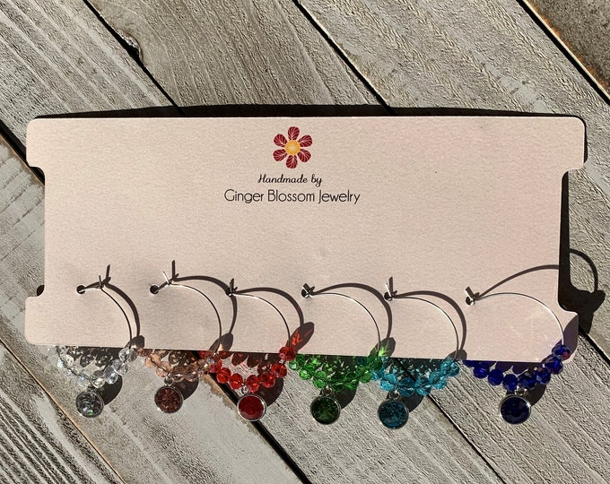 Set of 6 Wine Glass Charms - Limited Time Only - Rhinestone rainbow charms in silver