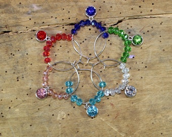 Rhinestone rainbow round charms in silver - Set of 6 Wine Glass Charms