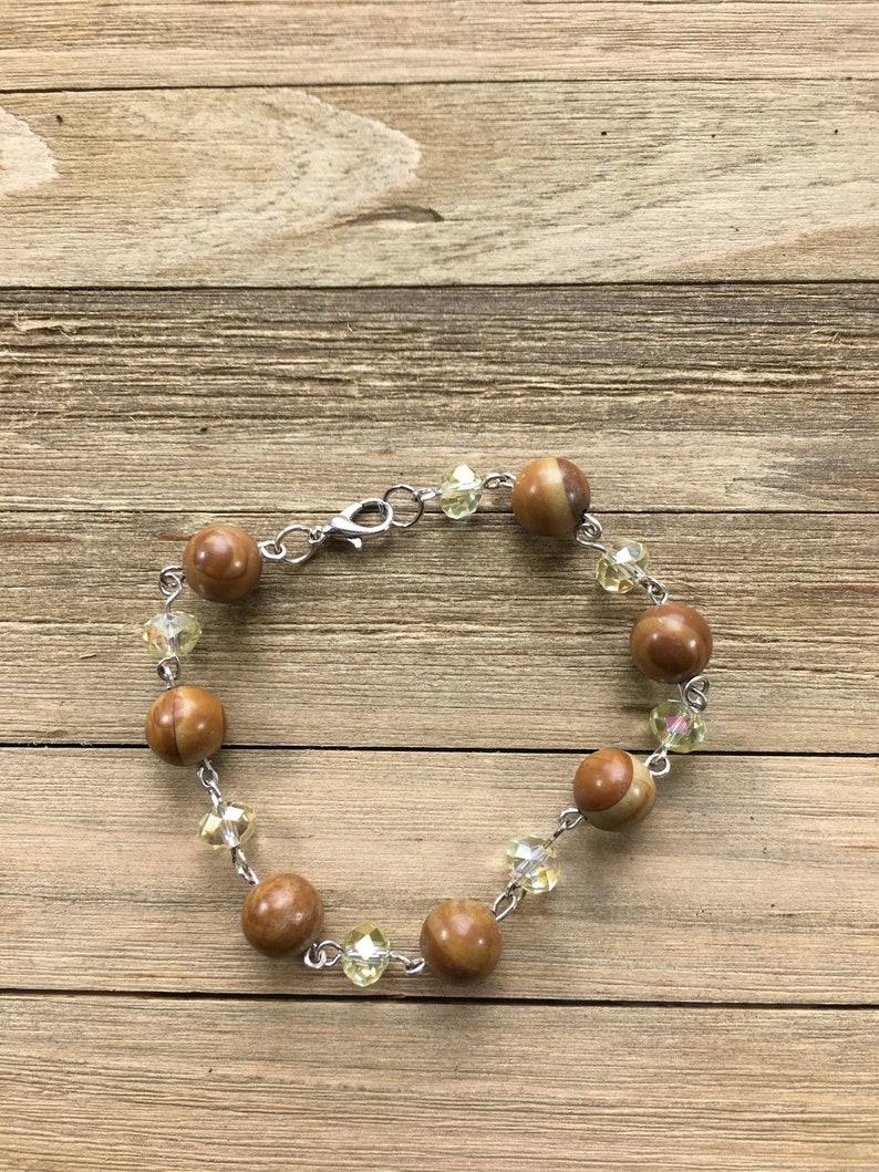 CLEARANCE Brown wood jasper bead semiprecious stone bracelet image 0