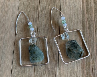 Prehnite briolette beads suspended in silver square with green amethyst, white topaz and quartz on 925 sterling silver ear wires