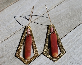 Red creek jasper with rhodochrosite beads suspended inside brass diamond and hanging from 14k gold filled earwires
