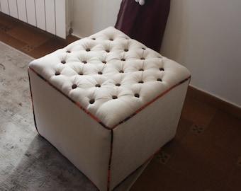 New padded handmade puff square.