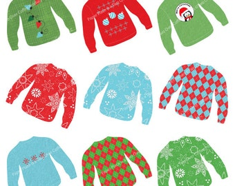 Christmas Sweater Clip Art featuring Snowflakes, Argyle, Penguin, Ornaments, Rich Digital Textures, Commercial Use, Instant Download