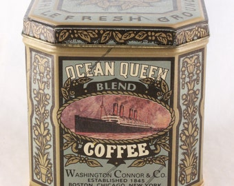 """New Vintage Old Stock Ocean Queen Coffee Tin (Tin Only) (4"""" Height/Width x 4"""" Height)"""