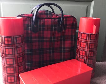 Vintage Aladdin red plaid thermos picnic set with sandwhich box, two thermos and carryall bag