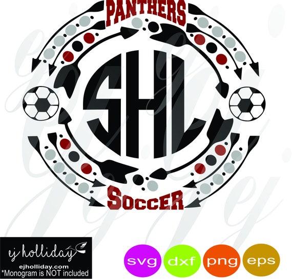 Panthers Soccer Monogram Frame svg eps png dxf Digital Cutting Design  Vector Image Graphic Sports Arrows polka dots