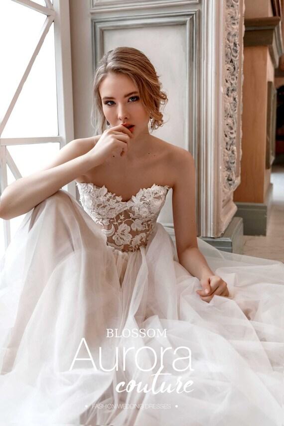 Wedding Dress Blossom Bohemian Wedding Dress Beach Wedding Etsy