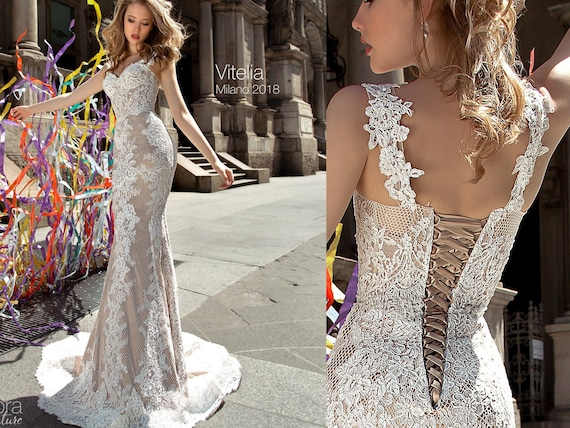 Wedding Dresses Lace Open Back Fitted VITELIA Bridal Gowns