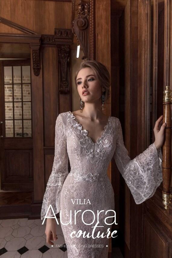 Wedding Dress Vilia Long Sleeve Wedding Dress Simple Wedding Etsy
