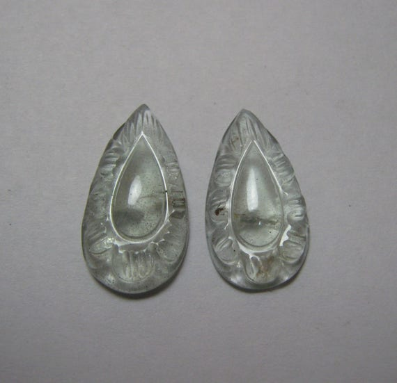 Natural Aquamarine sculpture poire forme paire lâche semi pierre précieuse Cabochon taille code 11 x 20 mm 7795 gros Pierre