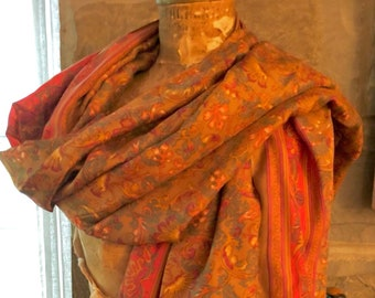 68a1a3319282 Artisan Made Silk Shawl Vintage Indian Sari/Not Sari Re-Purposed Upcycled  Vintage Silk Fabric Wrap Shawl Overskirt Gift Amy Brill #1
