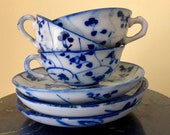 6 Pieces Antique Japanese Imari Blue White Porcelain Pottery Delicate Handpainted Tea Cups and Saucers