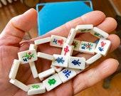 Mahjong Mah Jong Bone Tile Beads Mini Bone Retro 24 pcs. Boho Vintage Asian Bone Beads Yoga Jewelry 5 8 quot x 1 2 quot 16mm x 12.7mm Supplies Craft
