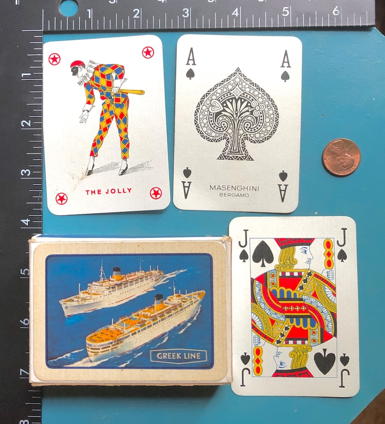Vintage Playing Card Deck Greek Line Cruise Ship Textured Paper Masenghini Bergamo Complete Deck of 52 Card Games Altered Art Mixed Media
