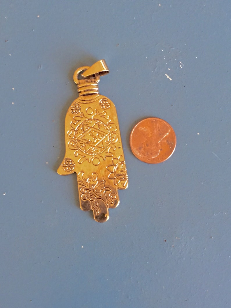 Hamsa Fatima Luck Engraved Hand Goldtone Pendant W Star Boho Ethnic Tribal Double-Sided Bold Gypsy Protection Cast Jewelry Pendant Supplies