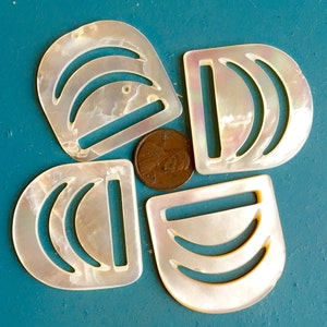193040s 2 x Vintage Art Deco Square Mother of Pearl Buckles