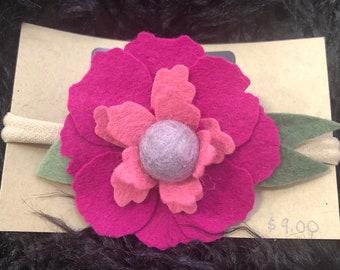 Purple Magenta Flower Headband Infant to Adult