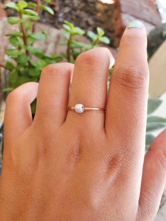 Gold Bead Ring Bead Ring Rose Gold Ring Bead Ring Rose Gold Ring Minimalistic Ring