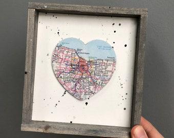 Rochester Heart Sign, Heart Map Sign, Rochester NY Sign, Rochester NY Gift, University of Rochester, RIT, Graduation gift
