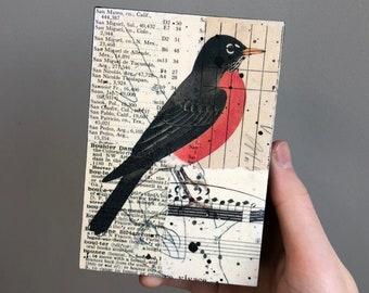 Robin Artwork, Robin Mixed Media Collage, Bird Collage Art