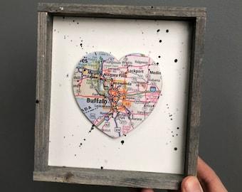 Buffalo Heart Sign, Heart Map Sign, Buffalo New York Sign, Buffalo NY Gift, University at Buffalo, Buffalo State, Graduation gift
