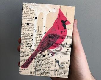 Cardinal Artwork, Cardinal Mixed Media Collage, Bird Collage Art