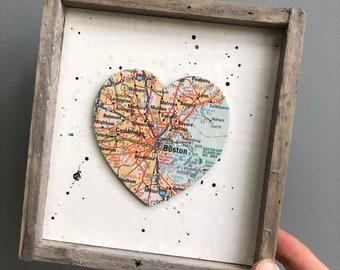 Boston Heart Sign, Heart Map Sign, Boston MA Sign, Boston MA Gift, Boston Map, Boston University, Graduation gift, Harvard University