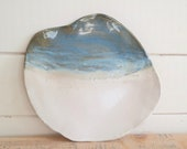 Blue & White Platter - Hand Built Ceramic Plate - Pottery Serving Platter - Ready to Ship