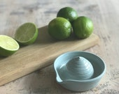 Pottery Lemon Squeezer - Handmade Ceramics Citrus Juicer - Duck Egg Blue Glaze- Ready to ship