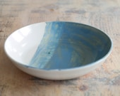 Blue & White Serving Dish - Hand Thrown Serving Bowl - Shallow Fruit Bowl - Ready to Ship