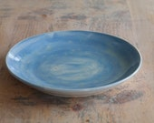 Ceramic Blue Platter - Hand Thrown Serving Plate - Decorative Pottery Plate - Ready to Ship