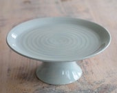 Hand Thrown Ceramic Cake Stand - Pottery Cake Stand - Pale Blue Cake Stand - Ready to Ship