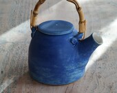 Stoneware Three Cup Teapot, Hand Thrown Pottery Teapot Glazed in Indigo - Ready to ship