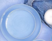 Handmade Side Plate - Small Plates - Dessert Plate - Starter Plate - Calm Seas Blue Glaze - Made to Order
