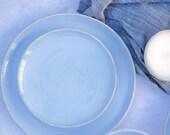 Handmade Side Plate - Small Plates - Dessert Plate - Starter Plate - Calm Seas Blue Glaze - Made to Order