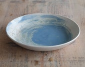 Ceramic Blue and White Serving Bowl - Shallow Serving Dish - Handmade Pottery Bowl - Ready to Ship