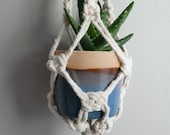 Handmade Macrame Hanging Planter with Blue Glazed Pot - Ready to Ship